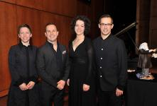 (Photo: Denis Bernier) Jennifer Bourdages, pianiste; Yannick Nézet-Séguin, chef et pianiste; Yukari Cousineau, violoniste et Pierre Tourville, altiste.